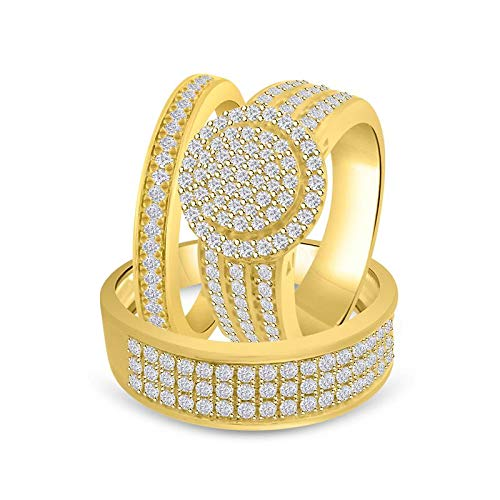 Craft On Jewelry 14k Yellow Gold Over Men& Women Trio Set Him & Hers Bride & Groom Halo Cluster Wedding Band Engagement Trio Ring ()