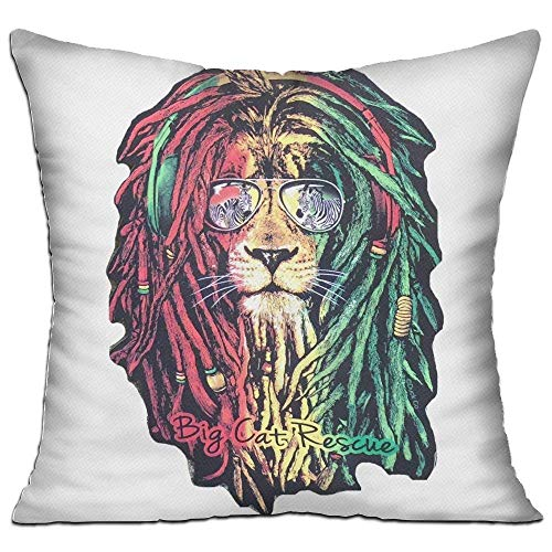 Large beach pants Dreadlock Rasta Lion Jamaican Reggae Pillow Covers Durable for Sofa Bedroom Car - Inserts are Not Included - 18
