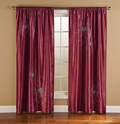 50 by 95-Inch Innovative Textile Solutions Cheryl Window Panel Red