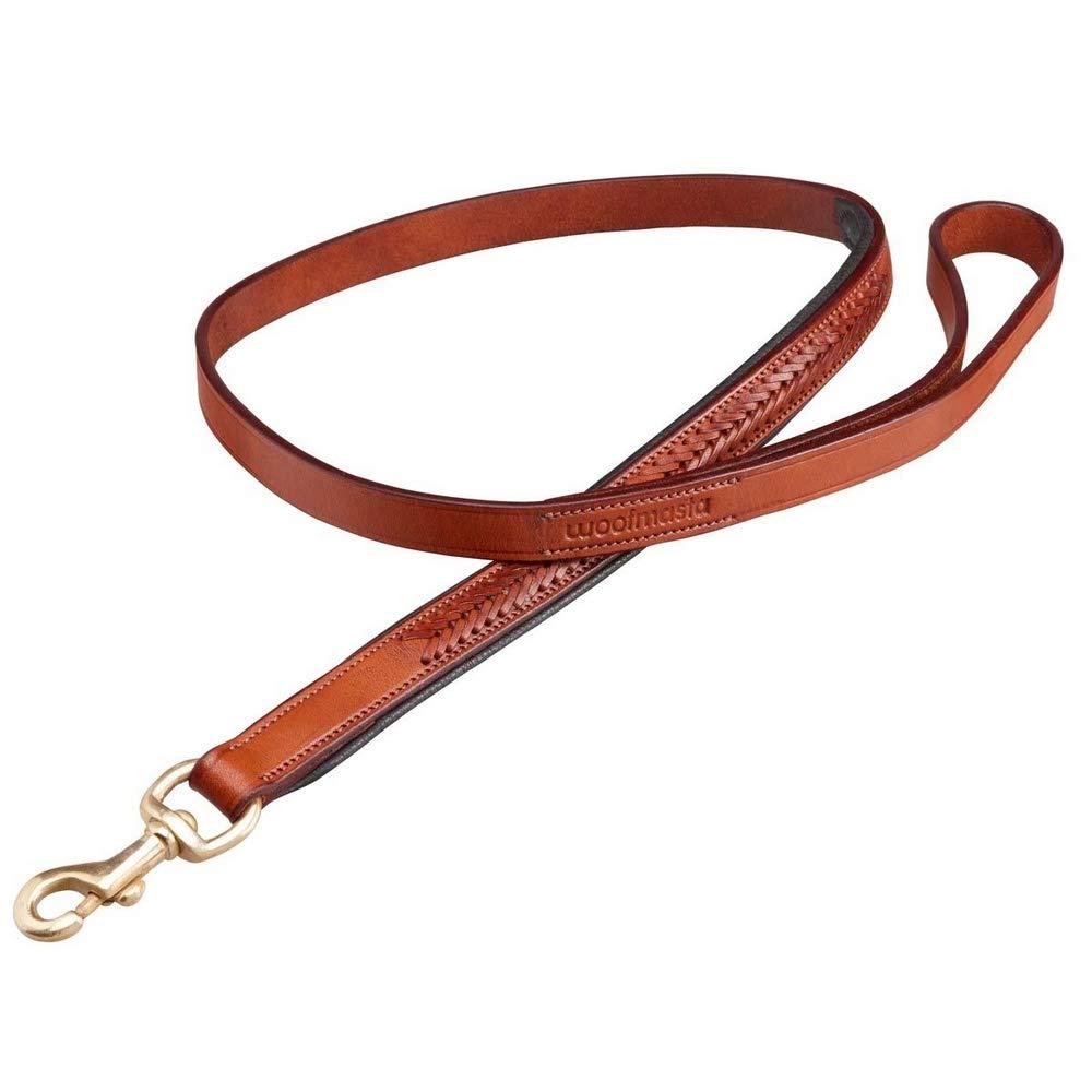 Tan Medium   Large Tan Medium   Large Woofmasta Plaited Leather Dog Leash (M L) (Tan)