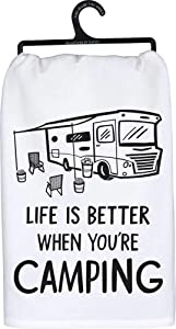 Primitives by Kathy LOL Kitchen Dish Towel, Life is Better When You're Camping