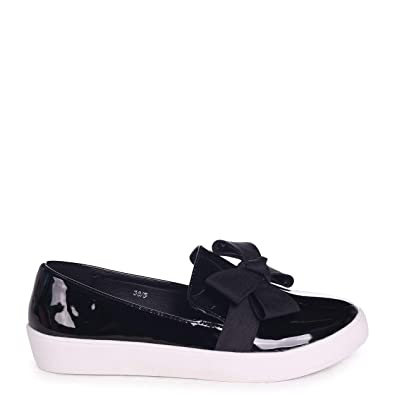 39c8732d4d9 Linzi Chic - Black Patent Classic Slip On Skater with Organza Bow Front  Detail  Amazon.co.uk  Shoes   Bags