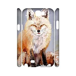 cute fox Customized 3D Cover Case for Samsung Galaxy Note 2 N7100, Customized cute fox 3D Cell Phone Case