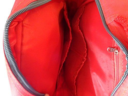 Mochila de cambiado de bebé resistente roja con manta para suelo