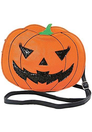 Halloween Purses - Sidecca Halloween Pumpkin Jack O Lantern Glitter Crossbody Bag (Jack O' Lantern)