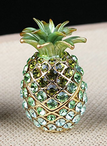 Miniature Pineapple Jeweled Trinket Box Earring Jewelry Box with Czech Crystal Stones (Yellow or Green)