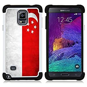 GIFT CHOICE / Defensor Cubierta de protección completa Flexible TPU Silicona + Duro PC Estuche protector Cáscara Funda Caso / Combo Case for Samsung Galaxy Note 4 SM-N910 // National Flag Nation Country Singapore //