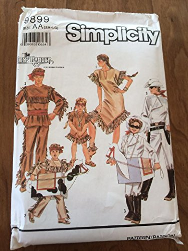 Simplicity 9899 Sewing Pattern, Adults' and Boys' and Girls' Lone Ranger, Tonto, Silver and Scout Costumes, Size AA (Sm-Lg) -