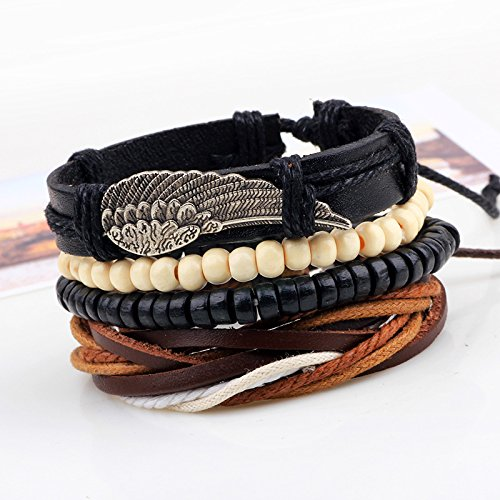 1Set 4pcs Punk Leather Angel Wing Boho Bracelets for Male Braclet Mens Braslet Pulseras