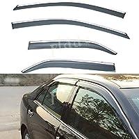 PLDDE 4pcs Smoke Tint With Chrome Trim Outside Mount Tape On/Clip On Style PVC Sun Rain Guard Window Visors Fit 12-14 Toyota Camry
