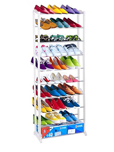 Dtemple Home Shoe Rack Closet Storage Organizer Shoes Rack,Free Standing 4/7/10 Tier 30 Pair Shoe Tower Rack Organizer (US Stock)