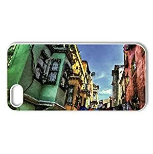 wonderful old neighborhood hdr - Case Cover for iPhone 5 and 5S (Houses Series, Watercolor style, White)