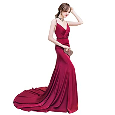 c1ac839b092ed Wish-望み レディース キャミワンピース マーメイドドレス ワインレッド ロングドレス タイト系 細い セクシー