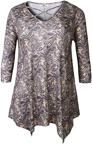Zerdocean Women's Plus Size Printed Crisscross V Neck 3/4 Sleeve Tunic Top Loose Shirt