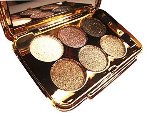 Christmas Gift for Women, Glitter Eyeshadow Palette 6 Colors Sparkle Eyeshadow Shimmer Ultra Long Lasting Makeup Palette for Valentine's Day Wedding Evening Party (Gold Shimmer Powder Brush)