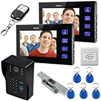 Ennio 7 LCD Video Door Phone Bells Intercom Keyfobs Ir Camera Code Keypad Remote+switch + Electric Strike Lock 1v2