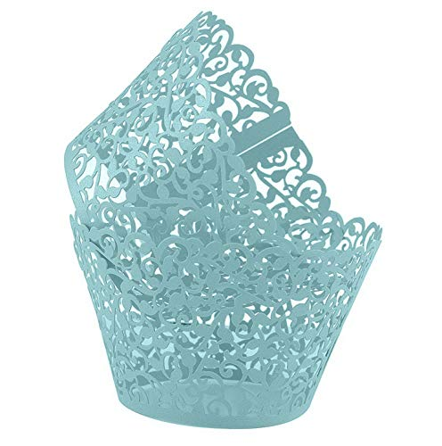 Mikash Blue Cupcake Wrappers 100pcs/pack Lace Cupcake Liners Laser Cut Cupcake Papers Cupcake Cups Muffin Cups for Wedding/Birthday Party Tion | | Model WDDNG - 808