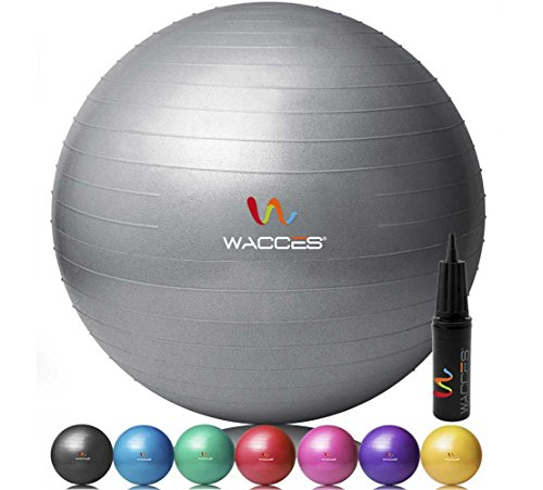 Wacces Professional Exercise, Stability and Yoga Ball for Fitness, Balance & Gym Workouts- Anti Burst - Quick Pump Included (Gray, 65 - Wcs Store