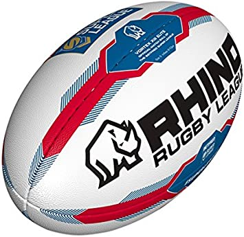 Rhino Unisex Super League Pelota de Rugby, Color Blanco/Azul ...