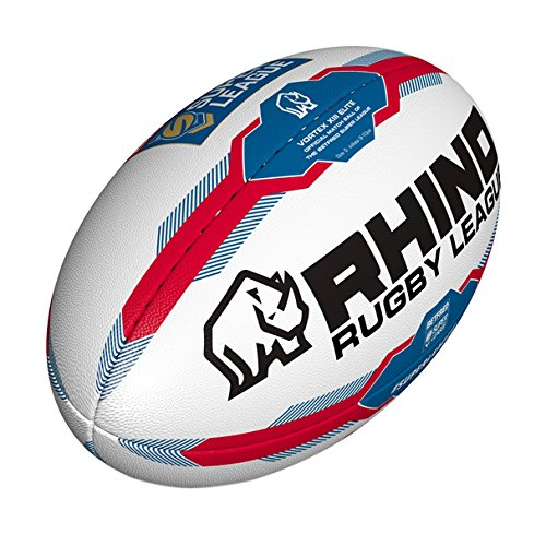 Rhino Rugby Betfred Super League 2017/18 Replica Official Rugby League Ball White/Blue Size 5 Cartasport RRBS5
