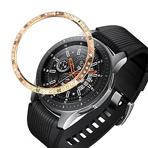 (Haojavo Bezel Styling for Galaxy Watch 46mm / Galaxy Gear S3 Frontier & Classic Bezel Ring Adhesive Cover Anti Scratch Stainless Steel Bezel Protector for Galaxy Watch Accessories)