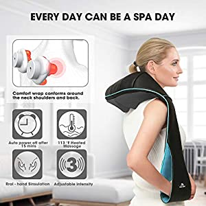CARE FOR YOUR FAMILY - This shoulder massager comes with 4 big nodes and 4 small nodes and 3D rotation kneading massage rollers in ergonomic U-design, which provide deep tissue massages on your shoulders, neck, upper back, lower back, waist, foot, tights, calves, legs, feet and arms - helping relaxing your full body, releasing stress and relieving sore muscles INCREDIBLE RELAXING MASSAGER - Explore the multipurpose nature of our shiatsu kneading massager pillow today. It works miracles all over your body from head to toe! Perfect for office, vehicle and home. It includes a 6 feet AC power adapter ensuring maximum usage whether at home or in the office. Enjoy a full body and stimulating massage in the comfort of your living room! The massager also Includes a FREE car adapter so you can enjoy a rejuvenating massage even on the go with our massage pillow HEATING FUNCTION & ADJUSTABLE INTENSITY - This neck massager pad has 3 speed strength levels, which allow you to get the right and appropriate amount of pressure to relieve your muscle pain. The heating function with the back massager further massage fatigued muscles and reduce stress. Overheating protection and 15 minutes auto shut-off function guarantee you a safe massage journey. It can also be turned off manually