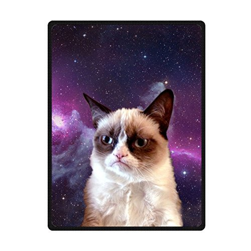 (Custom Animal Star Grumpy Cat Bed/Sofa Soft Throw Fleece Blanket 58