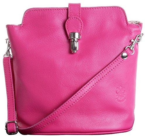 Primo Sacchi Italian Soft Leather Hand Made Small Fuschia Pink Cross Body or Shoulder Bag - Italian Pink Handbag