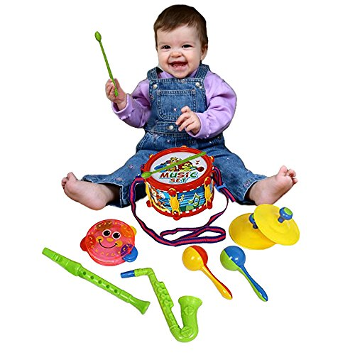 Toy Cubby Rock Band Kids Music Instrument Set - Flute, Drum , Saxophone, Cymbals and
