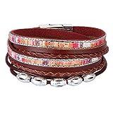 JOYMIAO Leather Wrap Bracelet - Good Lock Beads Multilayer Rope Braided Cuff Bangle - Handmade Wristband Jewelry for Women