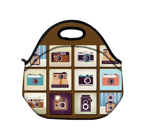 New Fashion Travel Outdoor Cooler Thermal Waterproof Lunch Bag Picnic Tote Box Container Insulated Zip Out Removable School Carry Handle Tote Lunch bag - Cartoon Camera D-26093