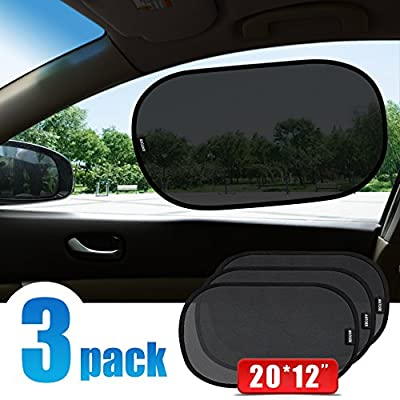 """ANTOER Static Cling Car Sun Shades (3 Px) -20 X 12"""" Block over 97% Harmful UV Rays, Sun and Glare Protection For Your Child - Baby Car Side Window SunShades"""