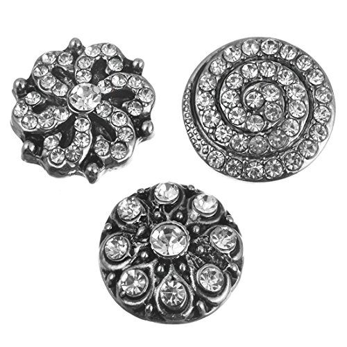 Souarts Solid Mixed Antique Silver Color Rhinestone Round Press Snap