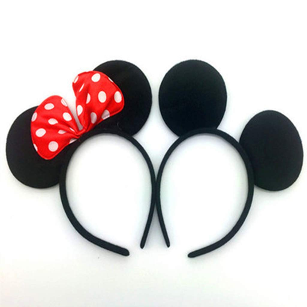 DH Minnie & Mickey Mouse Ear and Red Bow Headband for Girls Birthday Costume Party (12 pcs pack) by DreamHigh (Image #2)