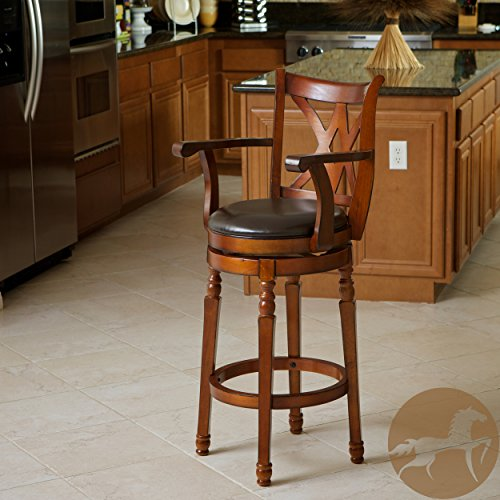 Christopher Knight Home 217132 Eclipse Brown Armed Swivel Barstool, Chocolate ()
