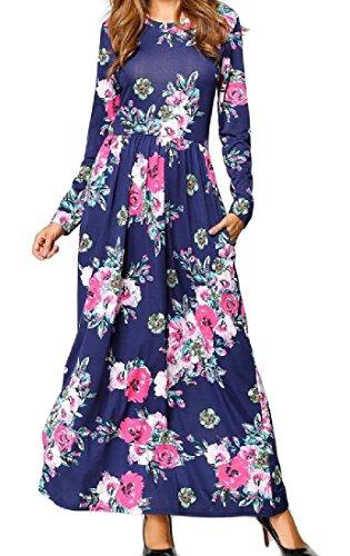 Manches Longues Femmes Coolred Sauvage Imprimé Floral Cocktail Clubwear Robe Bleu Foncé