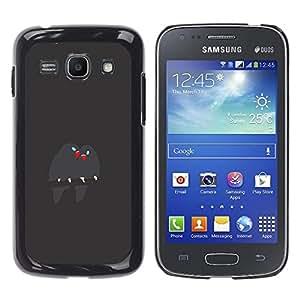 GOODTHINGS Funda Imagen Diseño Carcasa Tapa Trasera Negro Cover Skin Case para Samsung Galaxy Ace 3 GT-S7270 GT-S7275 GT-S7272 - pájaros lindos ramifican amor pico gris