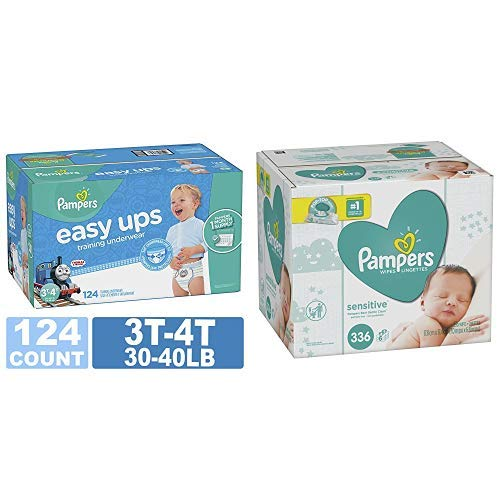 Pampers Easy Ups Training Pants Pull On Disposable Diapers for Boys, Size 5 (3T-4T), 124 Count, ONE MONTH SUPPLY with Baby Wipes Sensitive 6X Pop-Top Packs, 336 Count