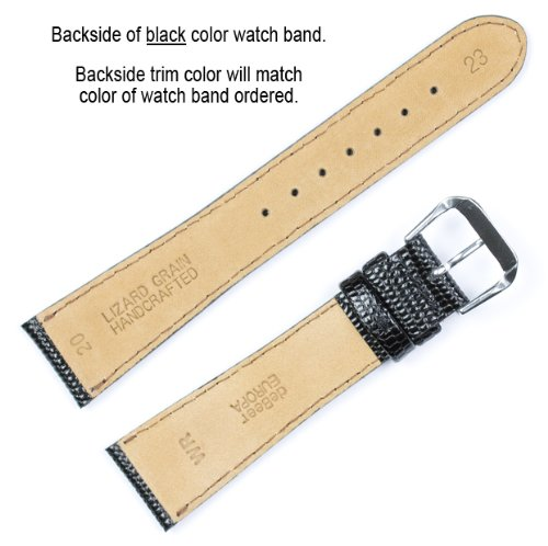 Lizard Grain Watchband Black 20mm Watch band - by deBeer by deBeer (Image #2)