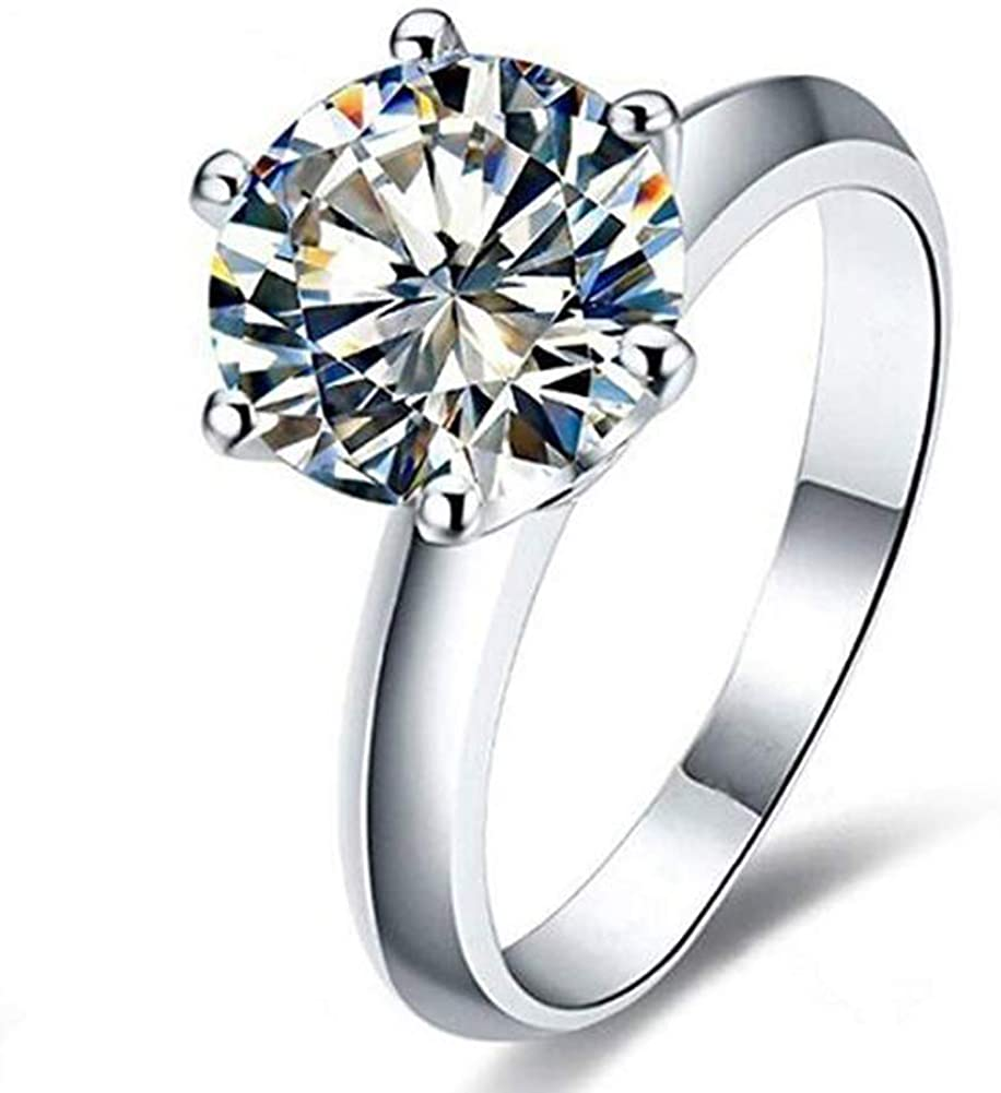 TenFit 2ct Anniversary 925 Sterling Silver Ring Simulated Halo Diamond Engagement Jewelry