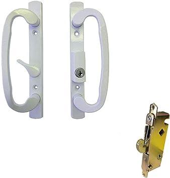 Corredera de cristal Patio Juego de mango de puerta con cerradura, blanco, llave, agujeros para tornillos 3 – 15/16