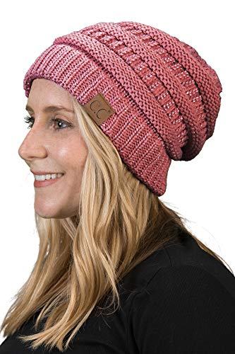 - H-6020a-9065 Solid Ribbed Beanie - Dark Rose (Metallic)