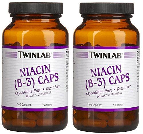 Niacin (B-3) 1000mg Twinlab, Inc 100 Caps (Set of 2)