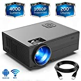 HD 4000Lux WiFi Projector,GIMISONIC Video Projector 1080P Supported with 200