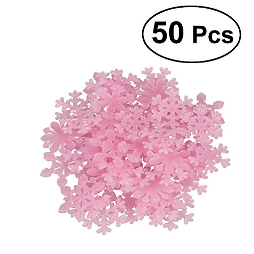 Tinksky Glow in the Dark Snowflakes Decals Christmas Wall Stickers Pink Pack of 50 -