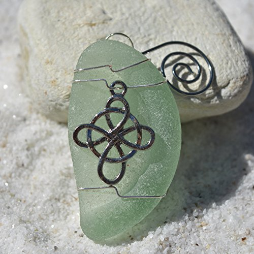 Custom Surf Tumbled Sea Glass Ornament with a Silver Celtic Knot Cross Charm - Choose Your Color Sea Glass Frosted, Green, and Brown. Celtic Knot Glass Charm