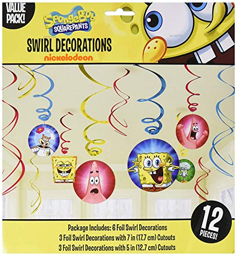 (SpongeBob SquarePants Party Foil Hanging Swirl Decorations / Spiral Ornaments (12 PCS)- Party Supply, Party)