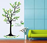 Apexshell (TM) Sweet Memory Quote Picture Frame Tall Green Tree with Birds Removable High quality Decorate Wall Decal Sticker Decor for Kids, Home, Nursery Room, for Children's Bedroom
