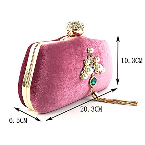 Tassel Clutch Orfila Velvet Handbag Party Bag Gold Evening Chain Pearl Double Pattern Metal Banquet Hdq8ad
