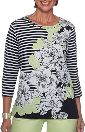 Alfred Dunner Petite Blouse (Alfred Dunner Petite Floral Stripe Print Jewel Neck Top X-Large Petite Green/White/Black)